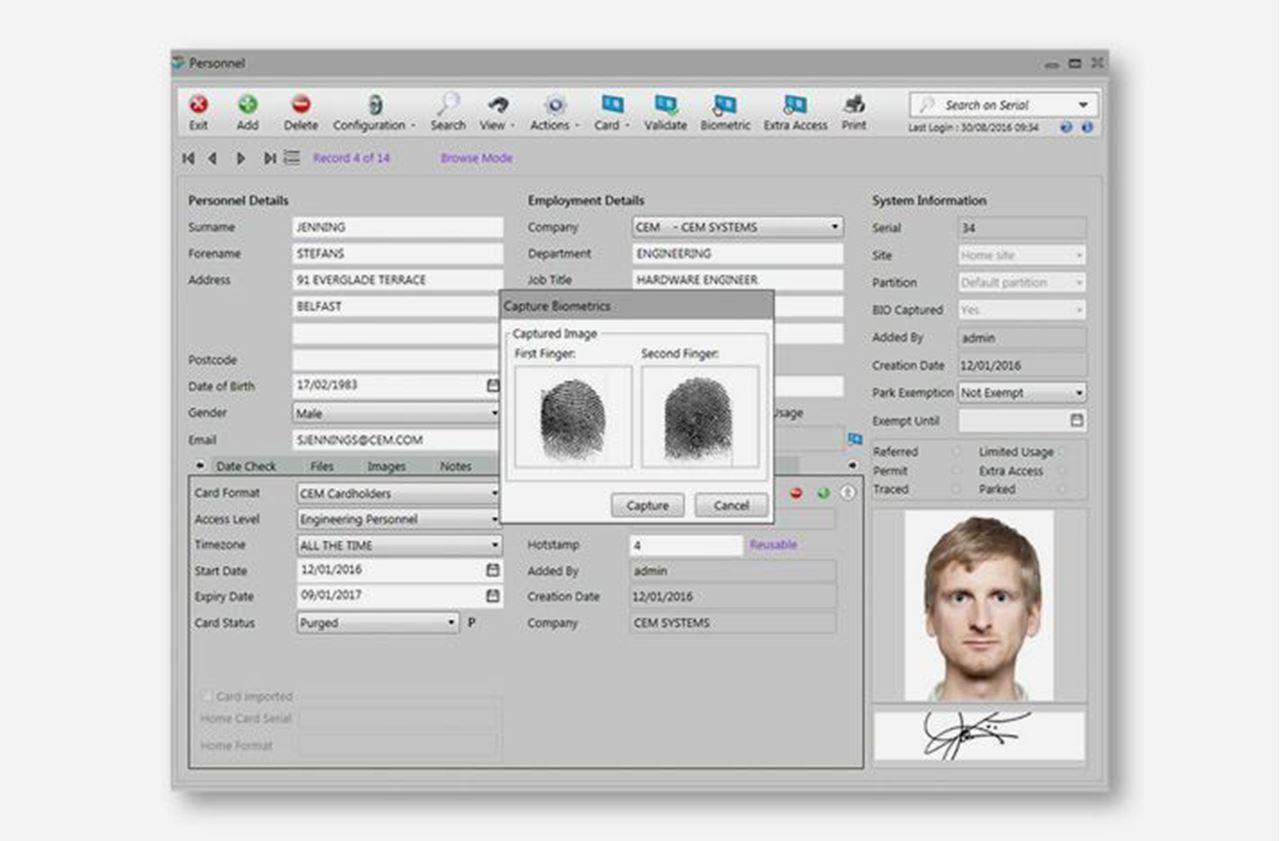 CEM System,  AC2000 Biometric Enrollment in Armenia at Vantag LLC